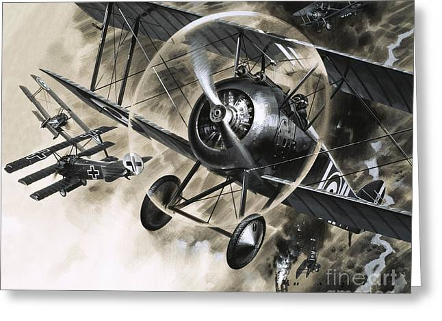 Dog Fight Between British Biplanes And A German Triplane Greeting Card by Wilf Hardy