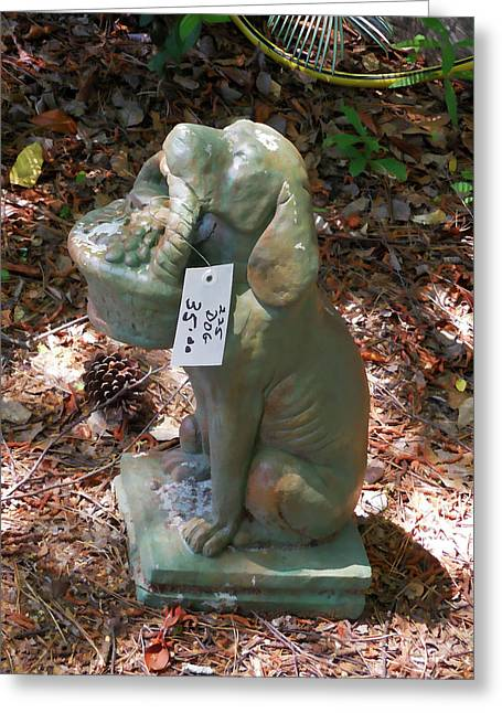Dog Garden Statues Greeting Card by Lanjee Chee