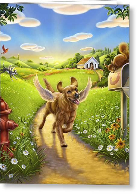 Dog Heaven With Wings Greeting Card