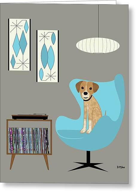 Dog In Egg Chair Greeting Card