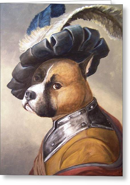 Dog In Gorget And Cap Greeting Card