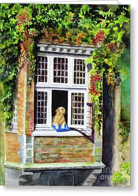 Dog In Window Greeting Cards - Dog in the Window Greeting Card by Karen Fleschler