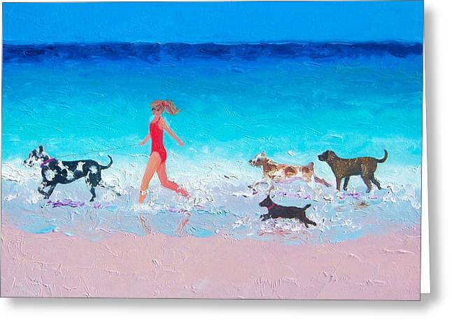Dog Jog Greeting Card by Jan Matson