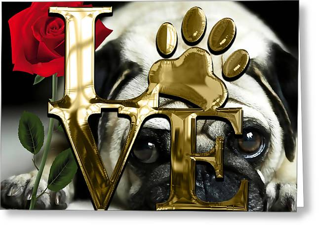 Dog Lover Collection Pug Dog Puppy Greeting Card