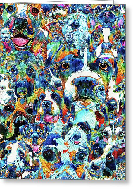 Greeting Card featuring the painting Dog Lovers Delight - Sharon Cummings by Sharon Cummings