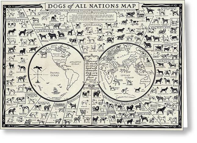 Dog Lovers Map 1936 Greeting Card