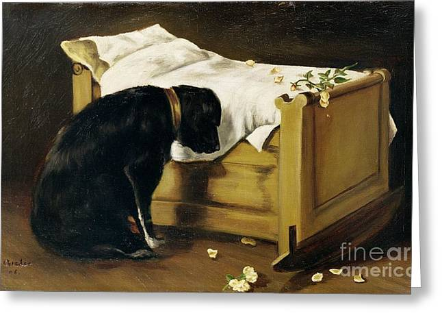 Dog Mourning Its Little Master Greeting Card by A Archer