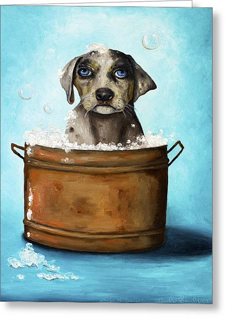 Spotted Dogs Greeting Cards - Dog N Suds Greeting Card by Leah Saulnier The Painting Maniac