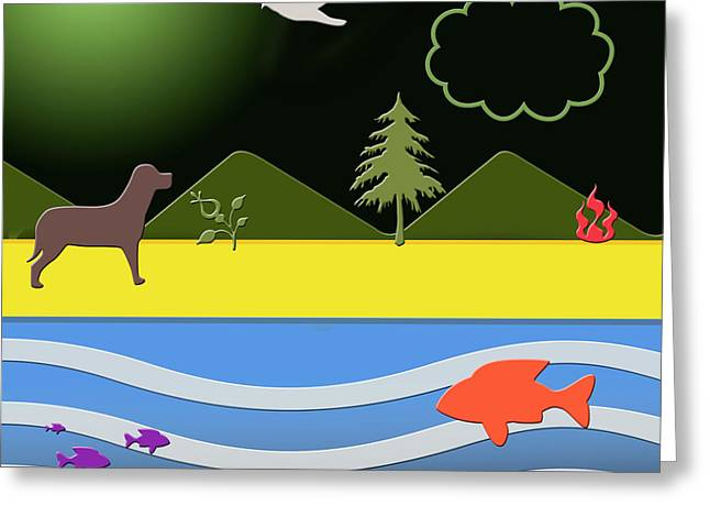 Greeting Card featuring the digital art Dog On Beach by Chuck Staley