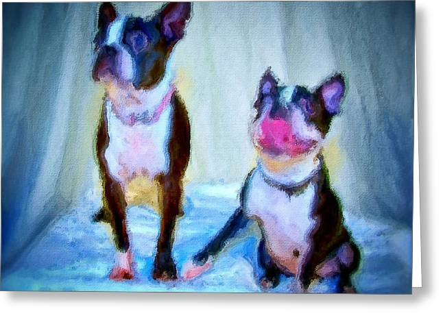 Dog Portrait Of Pets Super Cute Animals Painted On Canvas In Bright Colors Abstract And Texture With Pink Tongues And Happy Faces Seated On Cloth In Cool Tones Summer Blues True Friends Greeting Card by MendyZ