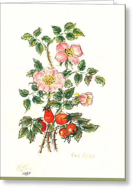 Dog Rose Greeting Card by Nell Hill
