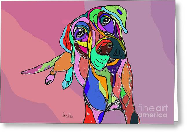 Dog Sketch Psychedelic  01 Greeting Card