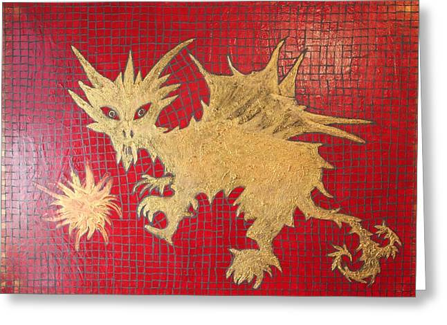 Dog Spikey The Dragon And Elizabeth The Fireball Greeting Card by Tracy Fetter