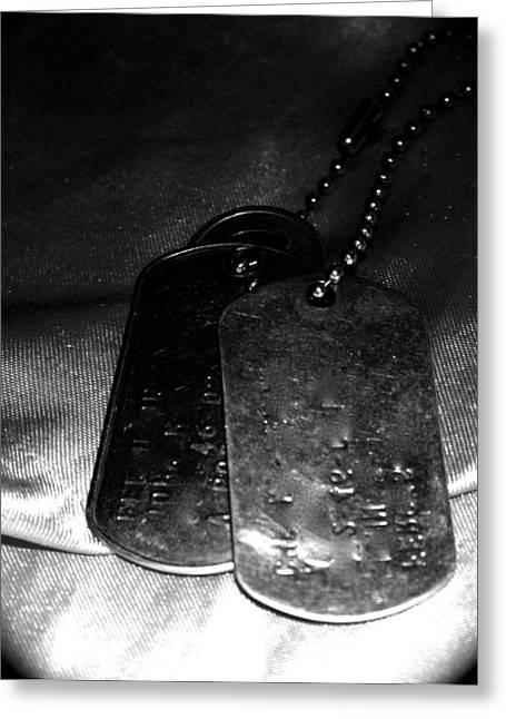 Dog Tags In Black And White Greeting Card by Aimee Galicia Torres