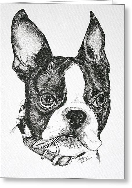 Collar Drawings Greeting Cards - Dog Tags Greeting Card by Susan Herber