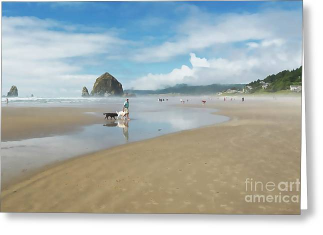 Dog Walking At Cannon Beach Greeting Card