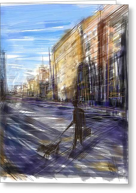Dog Walks Man Greeting Card by Russell Pierce