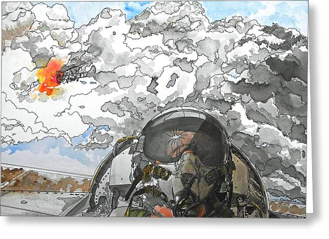 Dogfight Greeting Card by D K Betts
