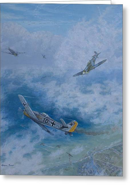 Dogfight Over Dieppe 19 August 1942 Greeting Card by Elaine Jones