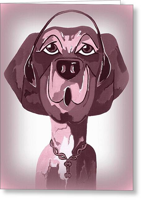 Doggie Singing The Blues Greeting Card by Kathleen Sartoris