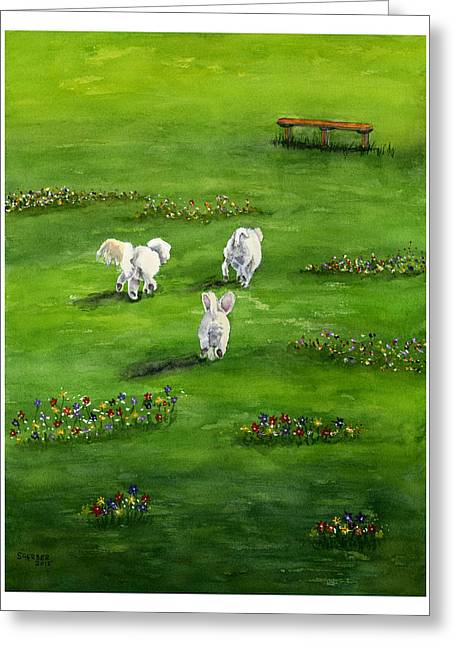 Doggies Greeting Cards - Doggy Heaven Greeting Card by Sharon Gerber