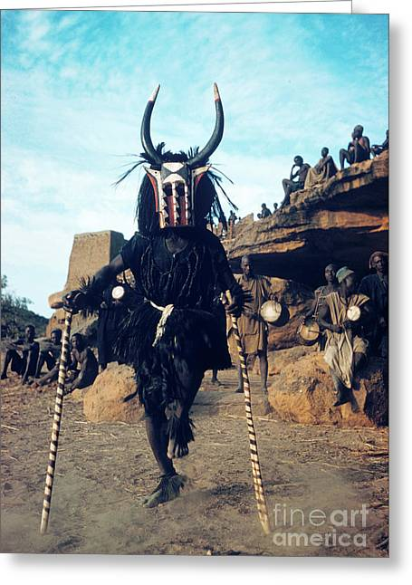 Dogon Dancer Wearing Mask, Sudanese Republic Greeting Card by The Harrington Collection