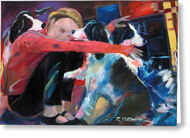 Dogs All Around Greeting Card by Ron Patterson
