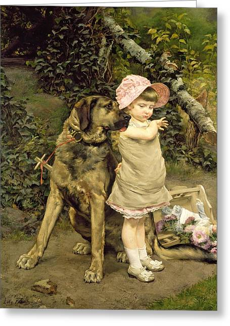 Dog Walking Greeting Cards - Dogs Company Greeting Card by Edgard Farasyn