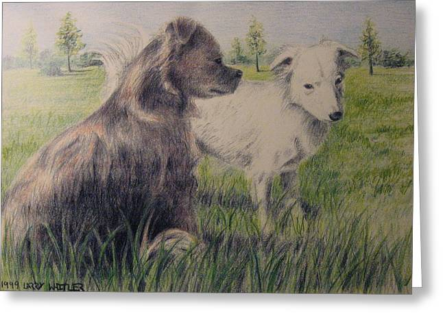 Dogs In A Field Greeting Card by Larry Whitler