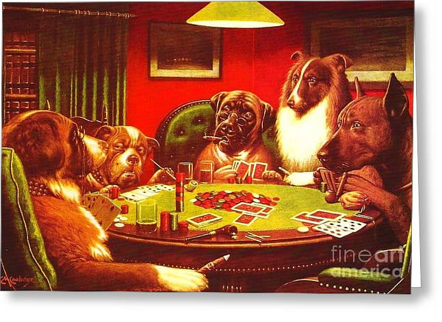 Dogs Playing Poker Greeting Card by Roberto Prusso