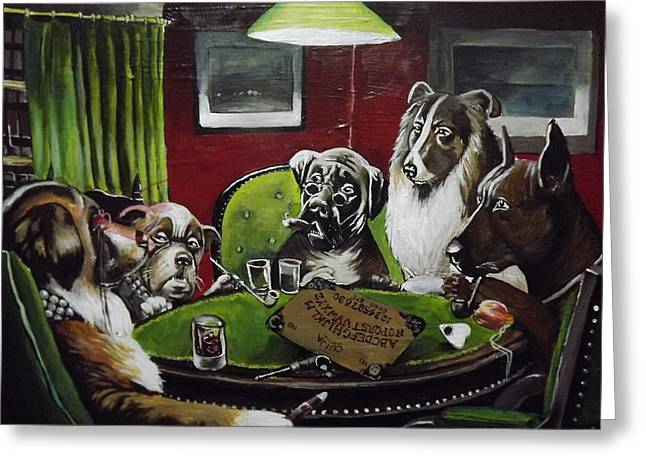 Dogs Playing Poltergeist Greeting Card by Rachel Parry