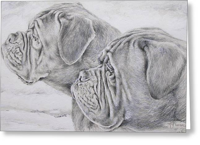 Dogue De Bordeaux Greeting Card by Keran Sunaski Gilmore