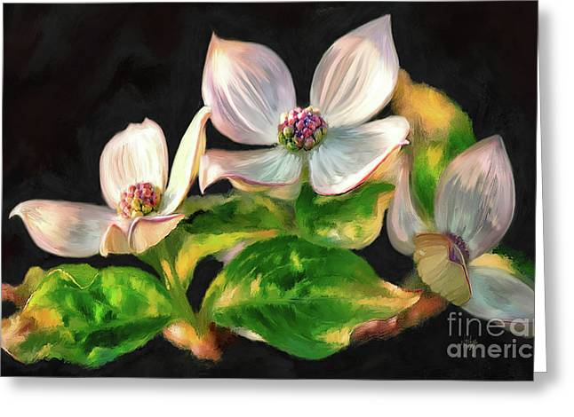Dogwood Blossoms On A Branch Greeting Card by Lois Bryan