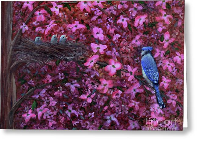 Greeting Card featuring the painting Dogwood Haven by Kristi Roberts