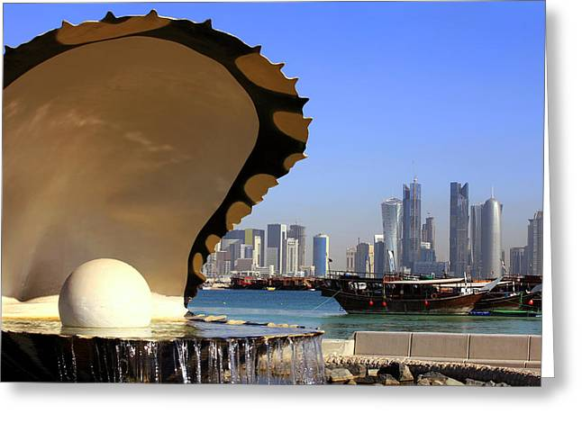 Doha Fountain Skyline And Harbour Greeting Card
