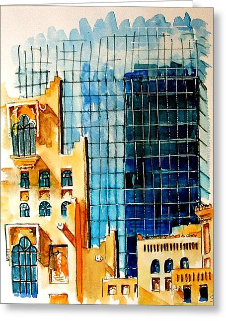 Doha Reflections Greeting Card by Mike Shepley DA Edin