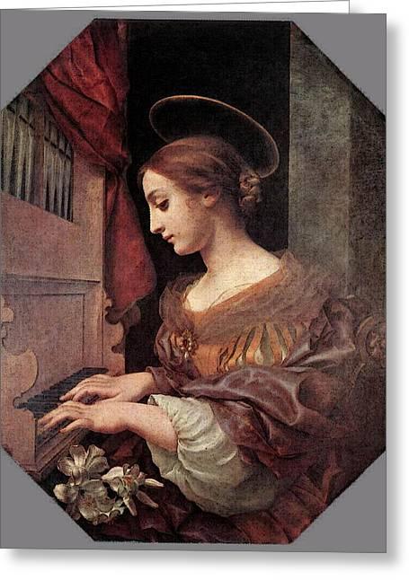 Dolci Carlo St Cecilia At The Organ Greeting Card