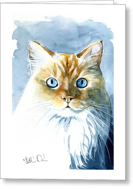 Doll Face Flame Point Himalayan Cat Painting Greeting Card