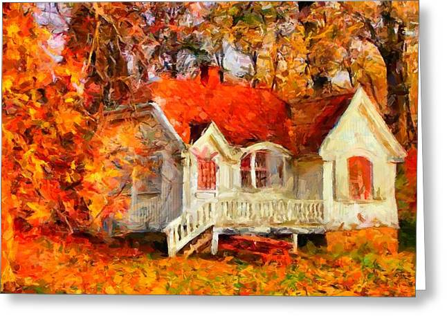 Doll House And Foliage Greeting Card