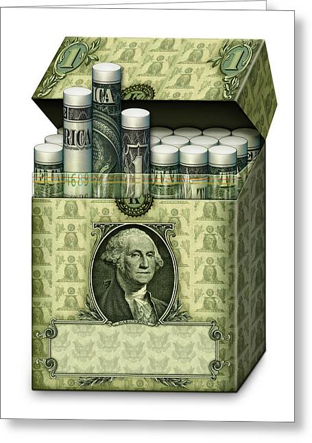 Dollar Cigarettes Greeting Card