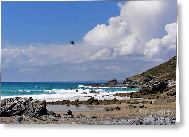 Dollar Cove, Gunwalloe Search And Rescue Greeting Card by Terri Waters