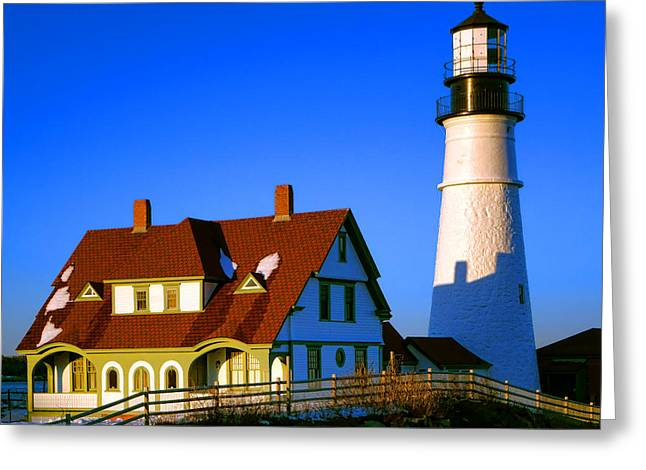 Greeting Card featuring the photograph Dollhouse Portland Head Light by Olivier Le Queinec