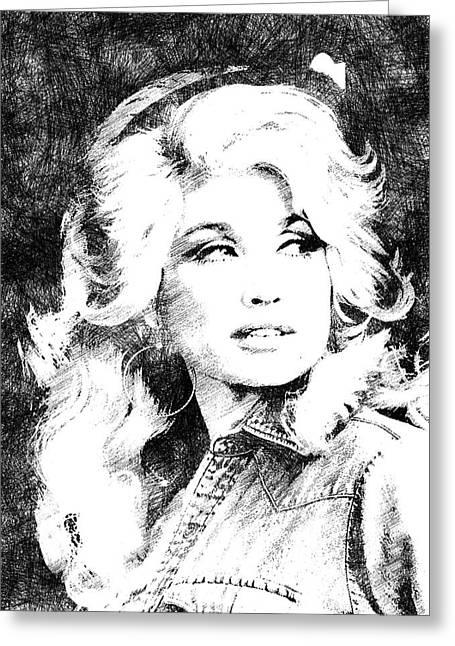 Dolly Parton Bw Portrait Greeting Card