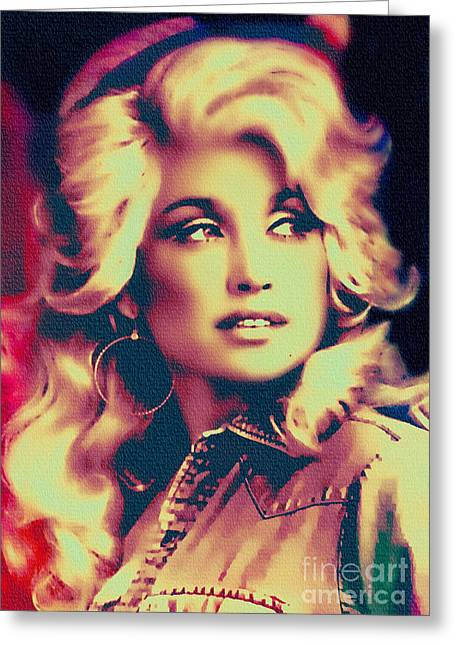 Dolly Parton - Vintage Painting Greeting Card
