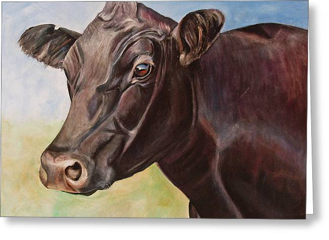 Dolly The Angus Cow Greeting Card by Toni Grote