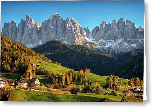 Dolomite Village In Autumn Greeting Card by IPics Photography