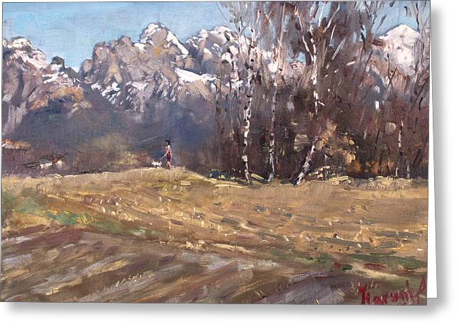 Dolomites And A Lady With A Little Dog Greeting Card