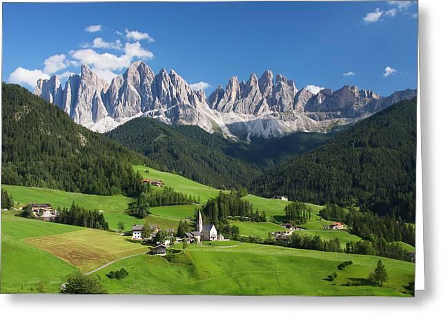Dolomites In Summer Greeting Card by Dan Breckwoldt
