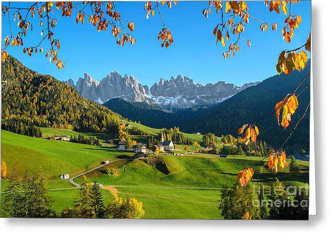 Dolomites Mountain Village In Autumn In Italy Greeting Card by IPics Photography