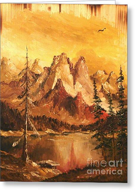 Greeting Card featuring the painting Dolomiti by Sorin Apostolescu